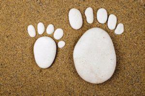 Fußabdruck aus Stein
